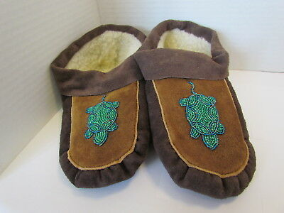Genuine Native American Mocs, Brown Moose Hide Leather, Turtle Beading 10.5 Inch