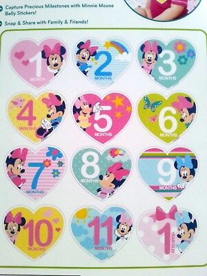 Disney Minnie Mouse Milestone Belly Stickers Baby Girls, Age 0-12M Photo Prop NW