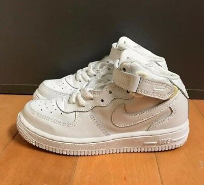 Nike Air Force 1 Mid White Leather Vintage 2004 Kids Ps Sz 11C-3C  308937-112
