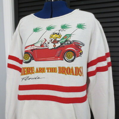 Vintage Florida Sweatshirt M L Novelty Where are the Broads Mens Print Graphic
