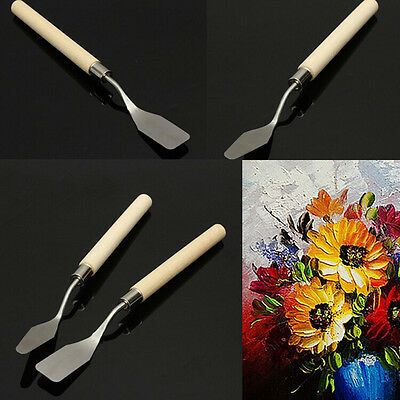 Wood Handle Metal Palette Knife Spatula Oil Texture Painting Art Crafts Tool GT