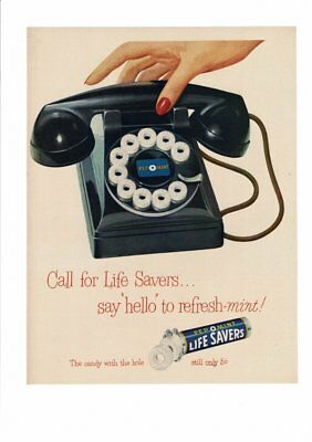 Vintage 1943 Life Savers Candy Pep O Mint Rotary Dial Phone Red Nails Ad Art Pri