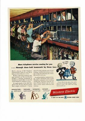 Vintage 1940's Telephone Western Electric Women Switchboard Operator Ad Print