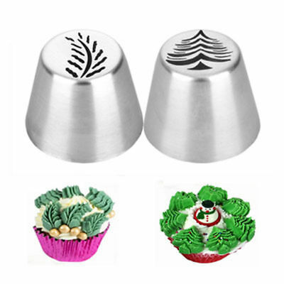2Pcs Christmas Tree Icing Russian Piping Tip Leaf Nozzle Cake Pastry Baking DIY