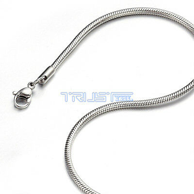 """2.4 mm 16"""" 16 inch Silver Stainless Steel Round Snake Necklace Chain Men Women"""