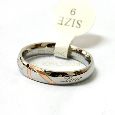 """Women Couple Love Heart Stainless Steel """" Real Love """" Wedding Bands Ring US Size"""