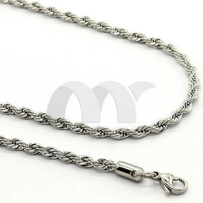 """2x 2-6mm 16-20"""" Silver Stainless Steel Rope Links Twist Necklace Chain Men Women"""