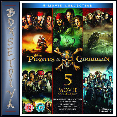 Pirates Of The Caribbean 5 Movie Collection Boxset*brand New Blu-Ray Region Free