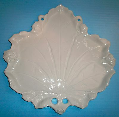 6 German Porcelain Large Leaf Shape Plates White