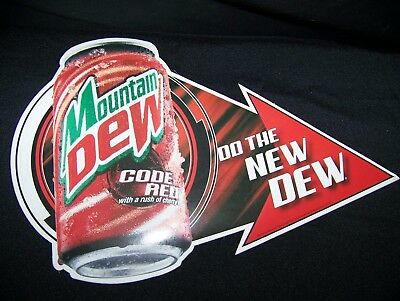 "Store Display dealer promo Mountain Dew Code Red Do The New DEW 13"" X 8""1/2"