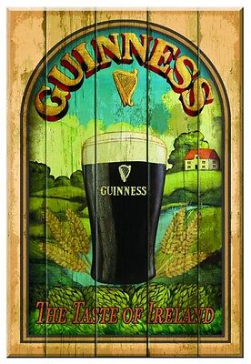 "Guinness Taste of Ireland Wood Wall Art Wooden Pub Bar Irish Sign 12"" x 8"" New"