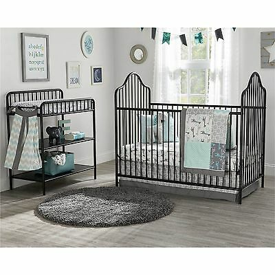 Victorian Black Spindle Metal Crib Changing Table Nursery Set Infant Toddler Bed