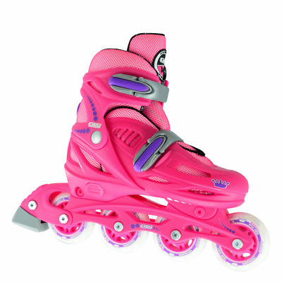 Crazy™ 148 Pink Kids Girl Boys 4 Size Adjustable Inline Roller Skates Blades