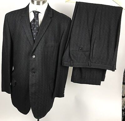 VTG 1960s 60s Lord Taylor 42R black gray textured wool suit 36 x 29.5 pants