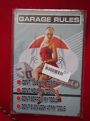 Retro Tin Sign -  Garage Rules (with pin up girl) - 20 x 30cm, New & Sealed