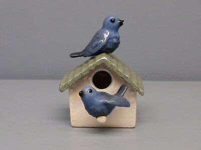 Hagen Renaker Specialty Bluebirds on  Birdhouse White Perch