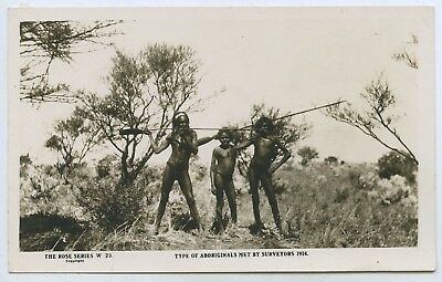 1920's Rp Adv Postcard Aboriginals Met By Surveyors 1914 Trans-Aust Railways Q39