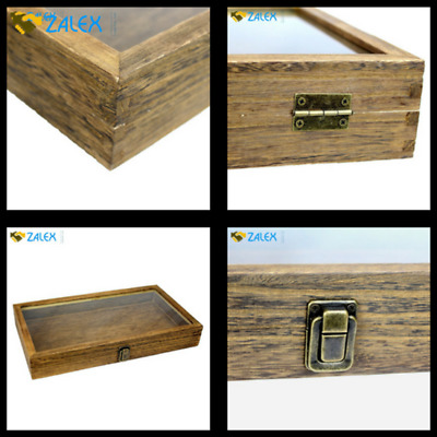 Large Oak Wood Jewelry Display Case Glass Top Display and Organizer With Lock