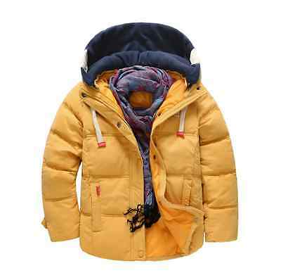 Winter Kids Boys Girls Duck Down Snowsuit Hooded Warm Quilted Puffer Coat Jacket