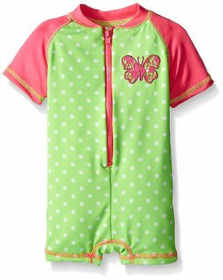 Wippette Baby Girls Polka Dot with Butterfly 1 Piece Swim, Gecko, 0-6 Months