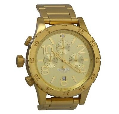 New Authentic w/Box NIXON Men's Steel Watch 48-20 Chronograph All Gold A486-502