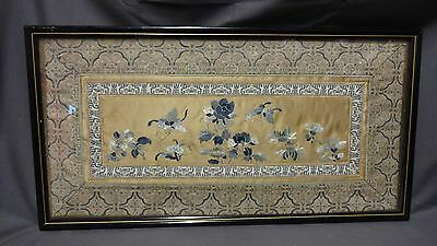 Antique Framed Chinese Silk Finely Embroided Sleeve Panel Flowers & Butterflies