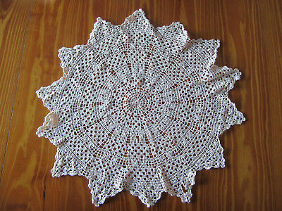 Large Vintage 'Baby Pink' Hand Crocheted Doily - 50 cm diameter