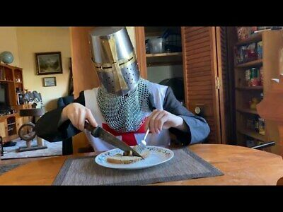 Brass Mild steel Crusader Helmet,Medieval Knight Larp Sca Party Cosplay Costumes