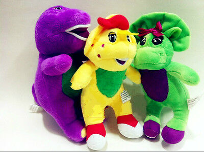 "3 pcs Singing Barney & Friends Plush Doll Figures Baby Bop BJ 6.7"" Gifts^^"