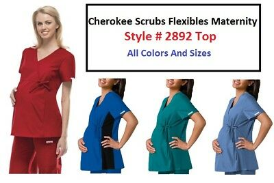 Cherokee Scrubs Flexibles Maternity Top 2892  All Colors & Sizes NWT