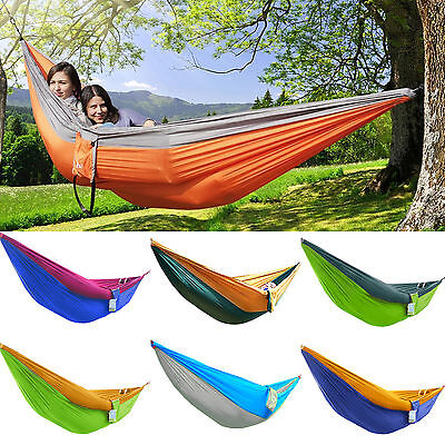 Double Person Fabric Hammock Outdoor Camping Picnic Patio Swing Parachute Bed UK