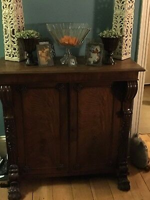 Attractive period 2 door chinoiserie storage cabinet with claw feet
