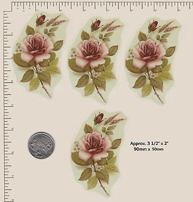 4 x Ceramic decal Blush rose floral flower 90mm x 50mm D2