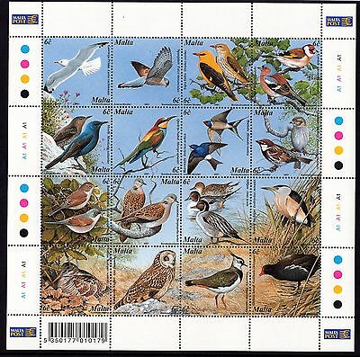 Malta 2001 Maltese Birds Sheet Complete Set SG 1214 - 29 Unmounted Mint