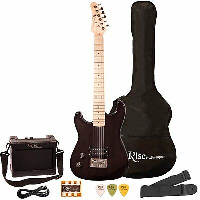 Rise by Sawtooth ST-RISE-ST-LH-BLK-KIT-1 Electric Guitar Pack, Left Handed,