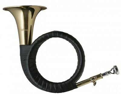 NEW Stagg WS-FS275S Brass Hunting Horn Key of Bb with Mouthpiece and Carry Case