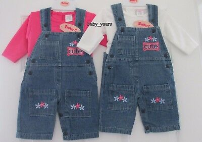 Baby Girl Soft Denim Dungarees & Long Sleeved Top Pink Cream Girls Outfit Set