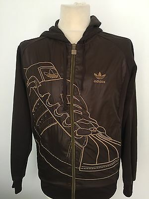 ADIDAS Men's BROWN Zip Up HOODED Tracksuit Top Jacket Size SMALL S