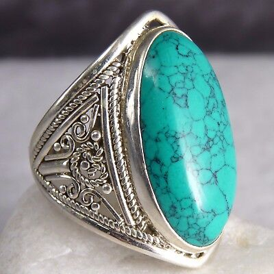 Granulation Feature Size US 9.5 SilverSari Ring Solid 925 Stg Silver + TURQUOISE