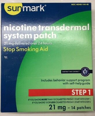 Sunmark Nicotine Transdermal System Step 1 21 mg Patches - 14 ct