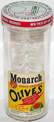 Vintage glass jar MONARCH OLIVES metal cap lion pictured Consolidated Chicago IL