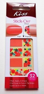 Kiss Stick On  Full & French Nail Strips Silk - Carded