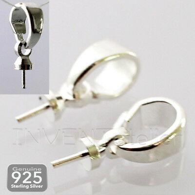 SNAP BAIL Open Clip CAP BAILS for Half Drilled Pearl Pendant 925 Silver Plated