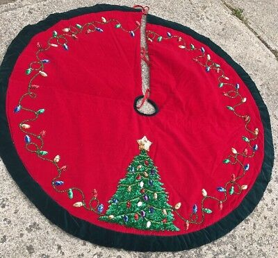 "Vintage 54"" Holiday Velour Christmas Tree Skirt With Sequins Gorgeous Classy EUC"