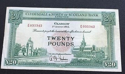 1962 Clydesdale,North of Scotland bank £20 note