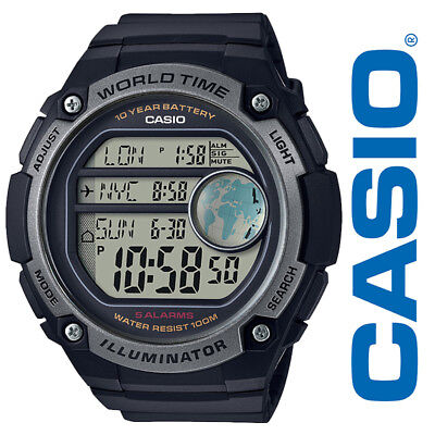 Casio AE3000W-1AV Men's Black Resin Band 5 Alarms World Time Chronograph Watch