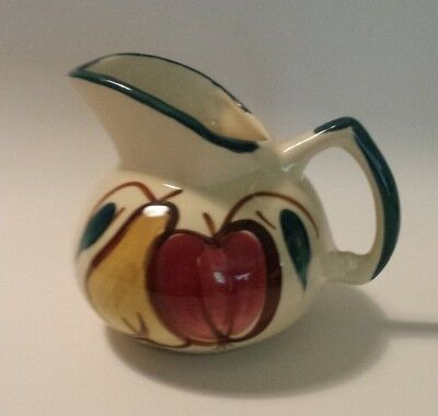 "Vintage Purinton APPLE & PEAR ""Kent Jug"" Pitcher Creamer FRUIT PATTERN Pottery"