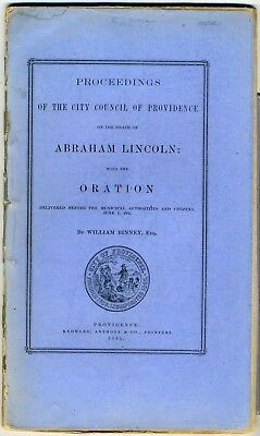 Abraham Lincoln – Orig. Eulogy – City Of Providence – 1865 – Wraps - Complete