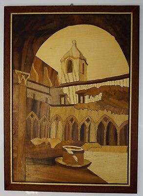 """Beautiful Marquetry Hand Made Italian Inlay Wood Picture, 14.5"""" x 10.5"""""""