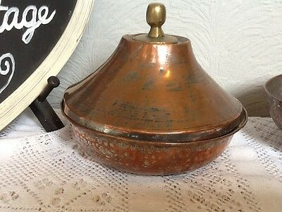 Antique Islamic Copper and Brass Bowl with lid #1482